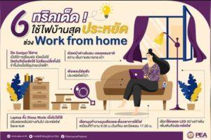 6 ทริคประหยัดไฟ! ช่วง Work From Home จาก PEA
