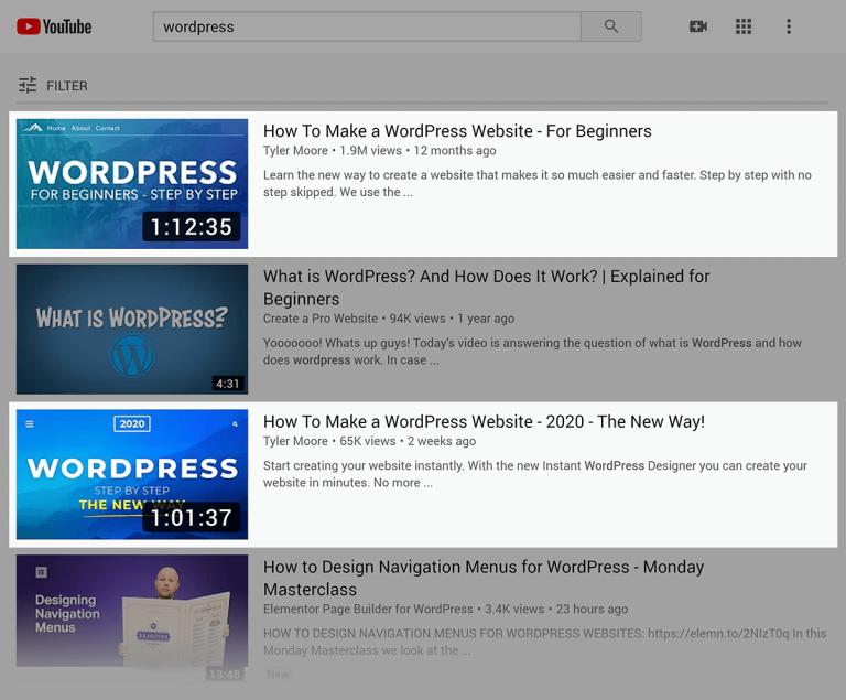 """ตัวอย่างเช่นถ้าคุณค้นหาใน YouTube สำหรับคำว่า""""WordPress"""" 2 ออกมาจากด้านบน 4 วิดีโอมีความยาวหนึ่งชั่วโมง"""