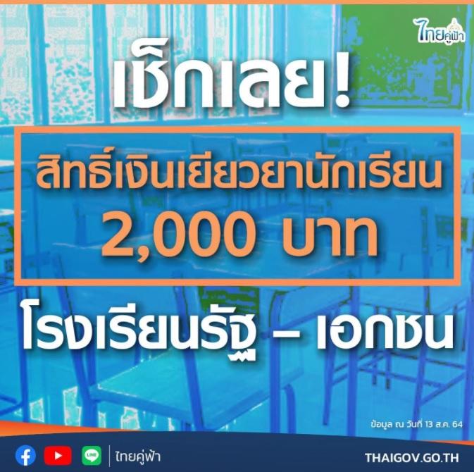 เช็คสิทธิ์รับเงินเยียวยานักเรียน 2000 บาท